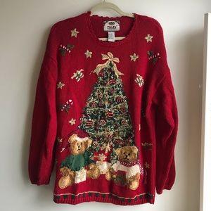 Tiara International Bear & Christmas Tree Sweater